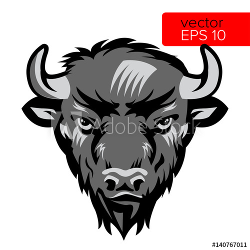 American bull mascot head. Bison clipart white background