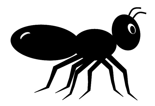 Ant and white panda. Black clipart
