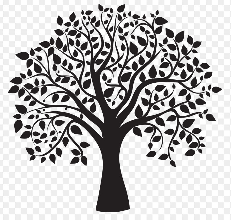 Tree and white exclusive. Black clipart