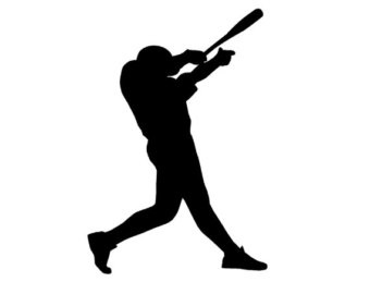 Player and white letters. Black clipart baseball