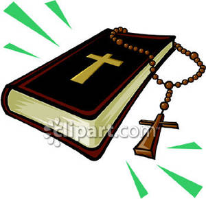 Rosary beads and a. Black clipart bible