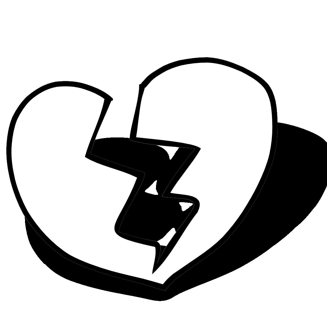 Hearts clipart man. Broken heart black and