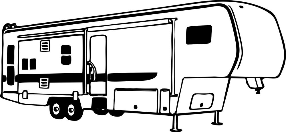 Trailer clip art with. Black clipart camper