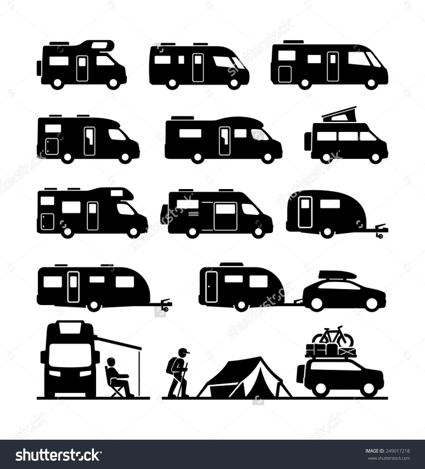 Image result for camping. Camper clipart black and white