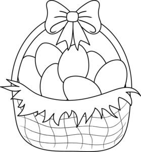 Free basket image clip. Black clipart easter