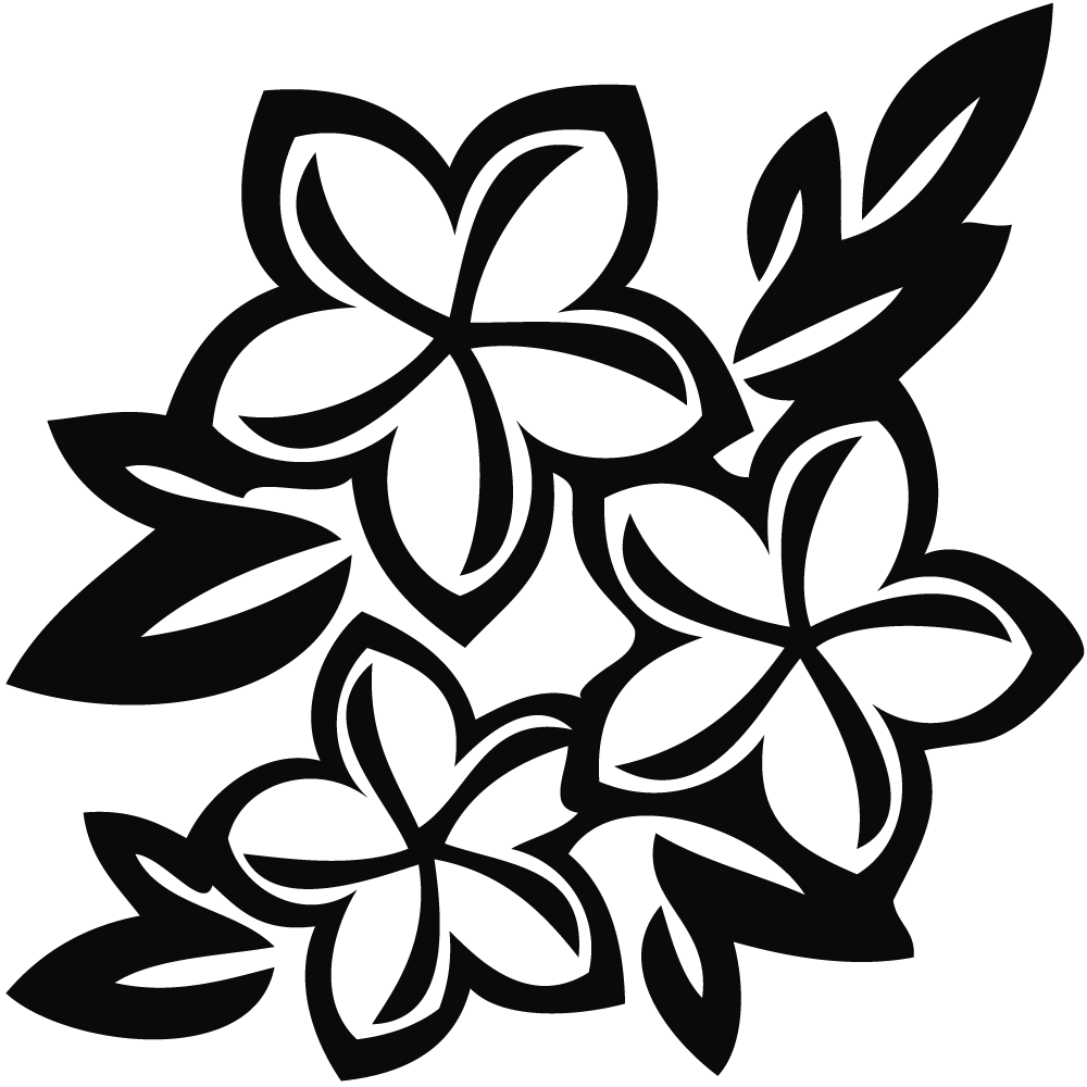 Flowers clipart hawaiian . Flower black and white png