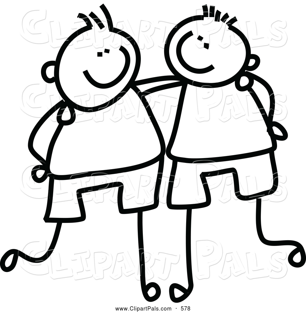Friendship clipart buddy. Friends black and white