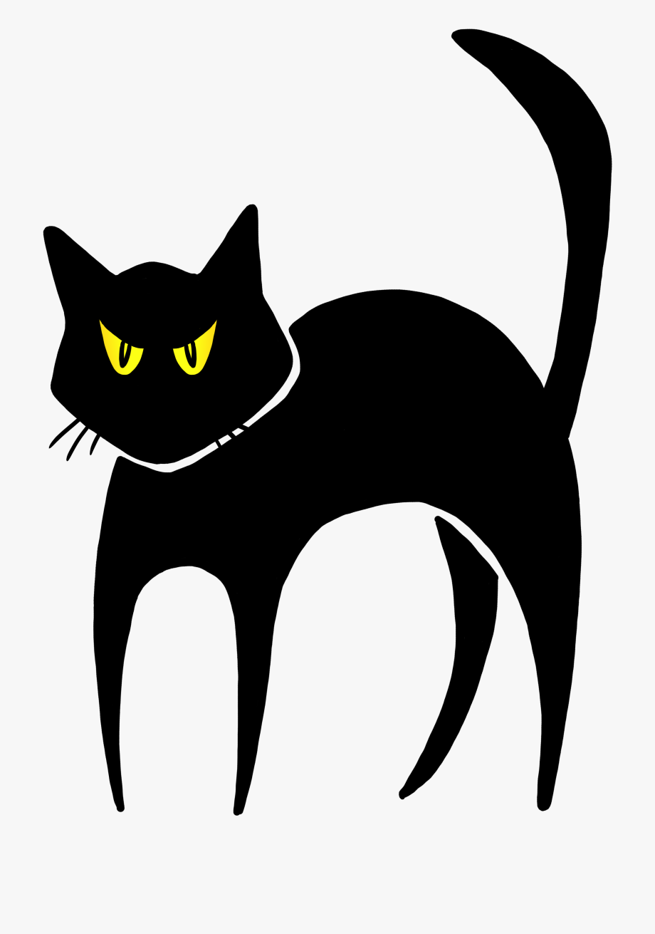 Spooky cat black halloween. Kitty clipart mouth