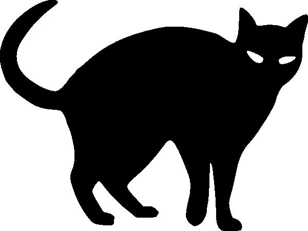 Black clipart halloween. Cat outline silhouette clip