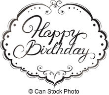 Black clipart happy birthday. Sweet looking and white