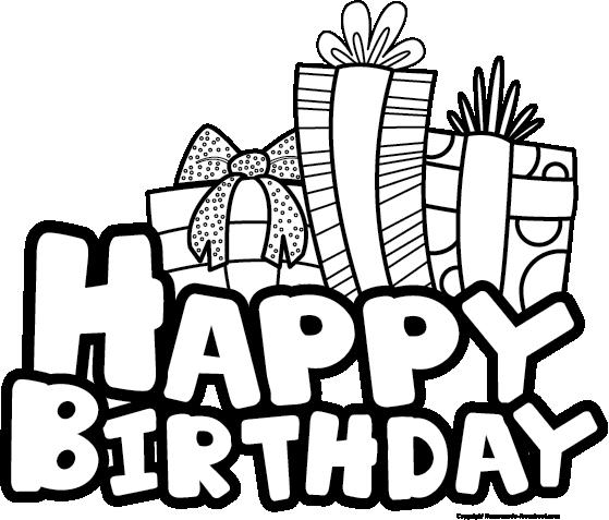 And white clip art. Black clipart happy birthday