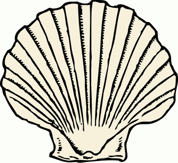 Free and white page. Black clipart seashell