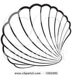 Black clipart seashell. Stained glass patterns and
