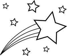 Stars and white panda. Black clipart shooting star