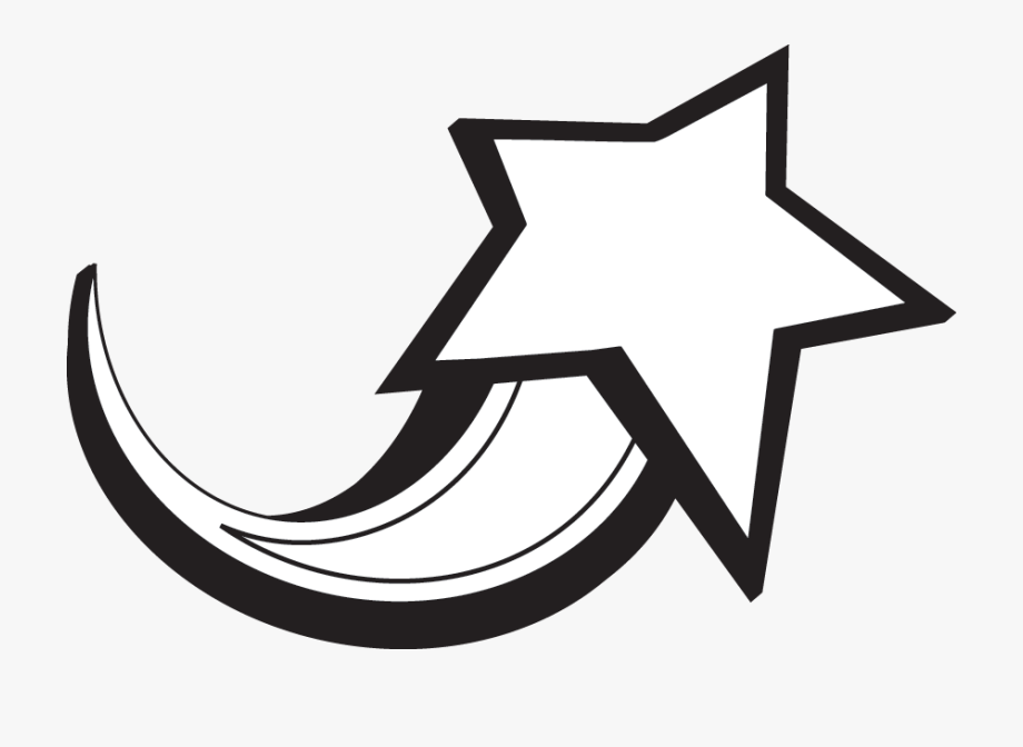 And white . Black clipart shooting star