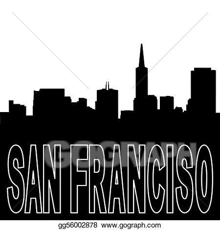 Black clipart skyline. Drawing san francisco silhouette