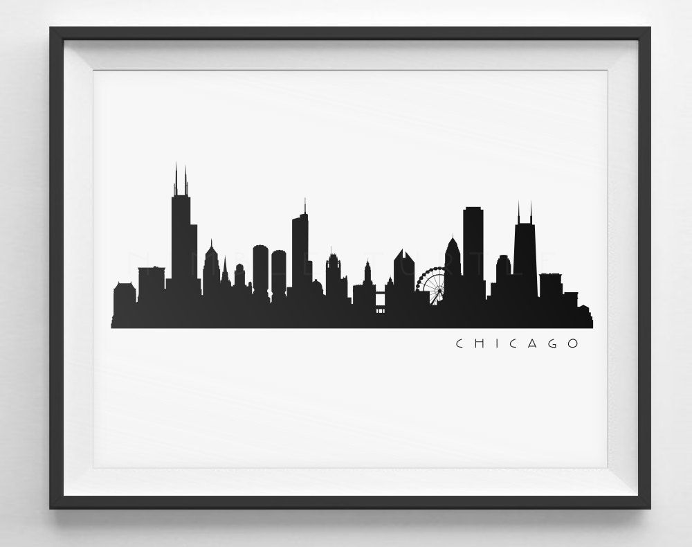 Black clipart skyline. Chicago silhouette printable pdf