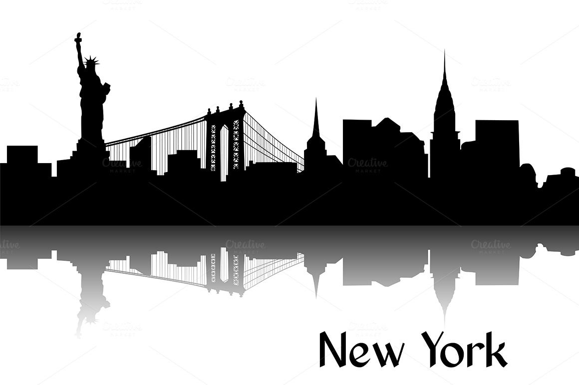 Silhouette of new york. Black clipart skyline