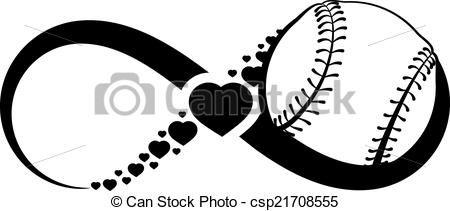 Heart and white clipartfest. Black clipart softball