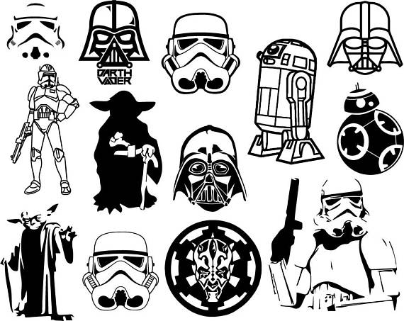 And white cilpart fashionable. Black clipart star wars