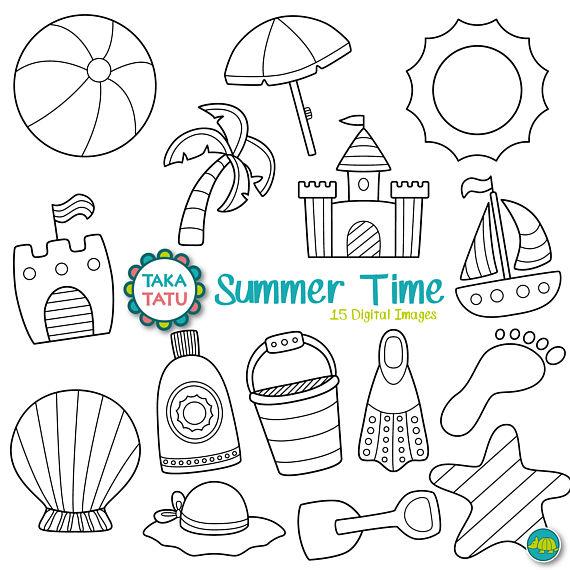 Time digital stamp pack. Black clipart summer