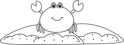 And white sand crab. Black clipart summer