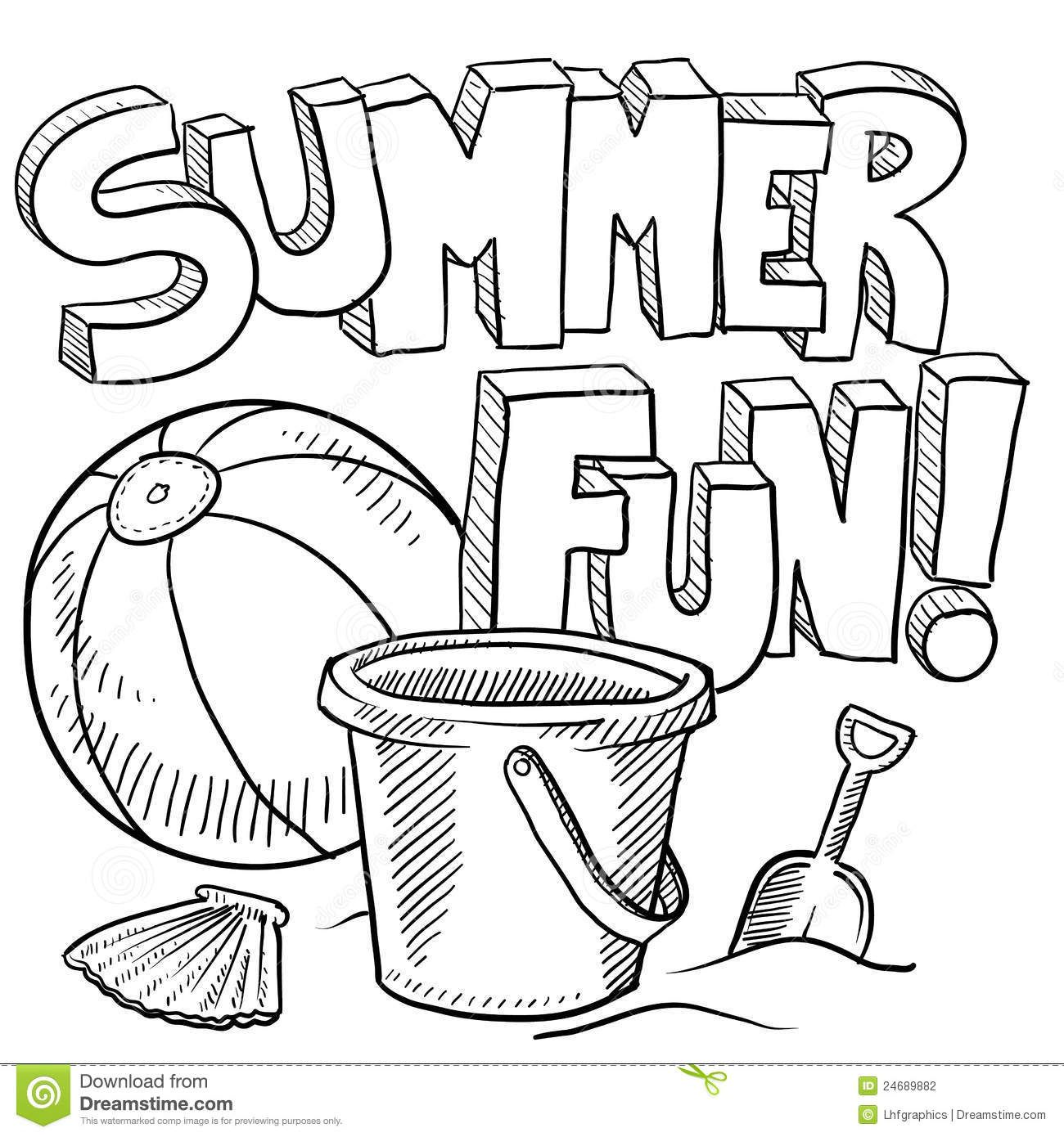 Black clipart summer. Fun and white clip