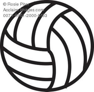 Clip art illustration of. Black clipart volleyball