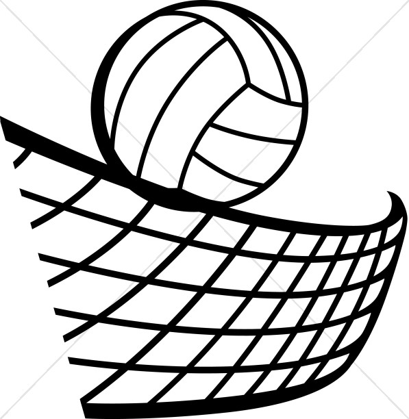 Volleyball clipart easy. In black and white