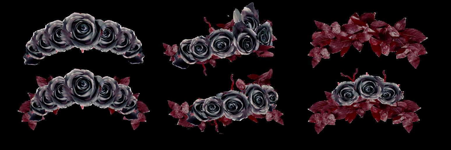 Black flower crown png. Stock floralwreath dark roses