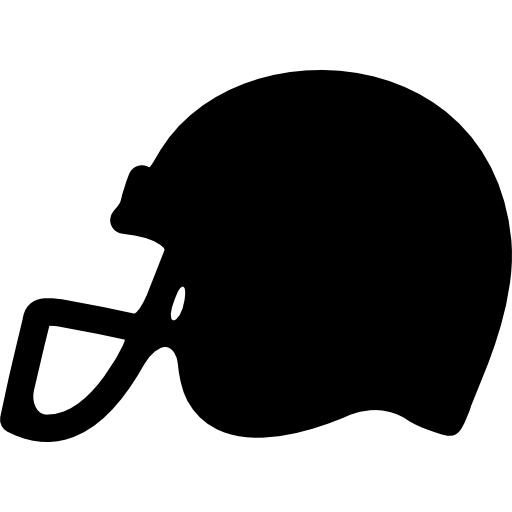 Black football helmet png. American side view silhouette