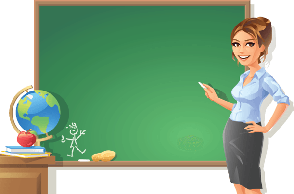 Blackboard clipart. Teacher at the arts