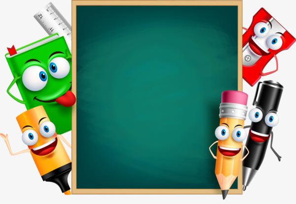 Blackboard clipart animated. Cartoon education learning pen