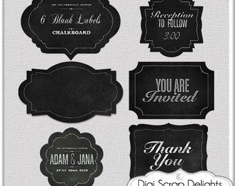 Blackboard clipart blank chalkboard. Labels etsy digital clip