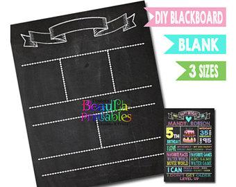 Template etsy printable birthday. Blackboard clipart blank chalkboard