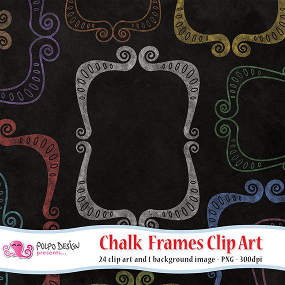 Colorful chalkboard frames digital. Chalk clipart colored chalk