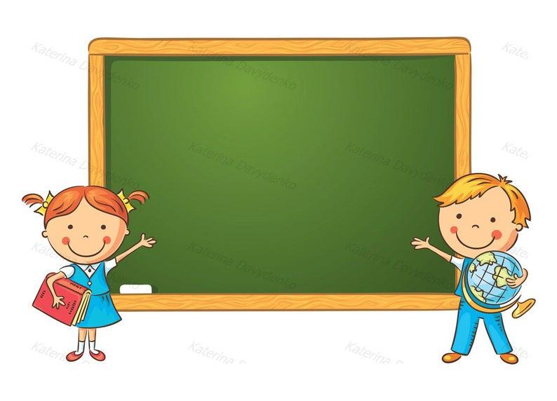 Schoolchildren at the in. Blackboard clipart cartoon