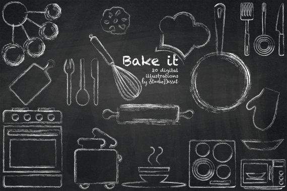 Chalk clipart chalkboard. Kitchen cliparts oven clip