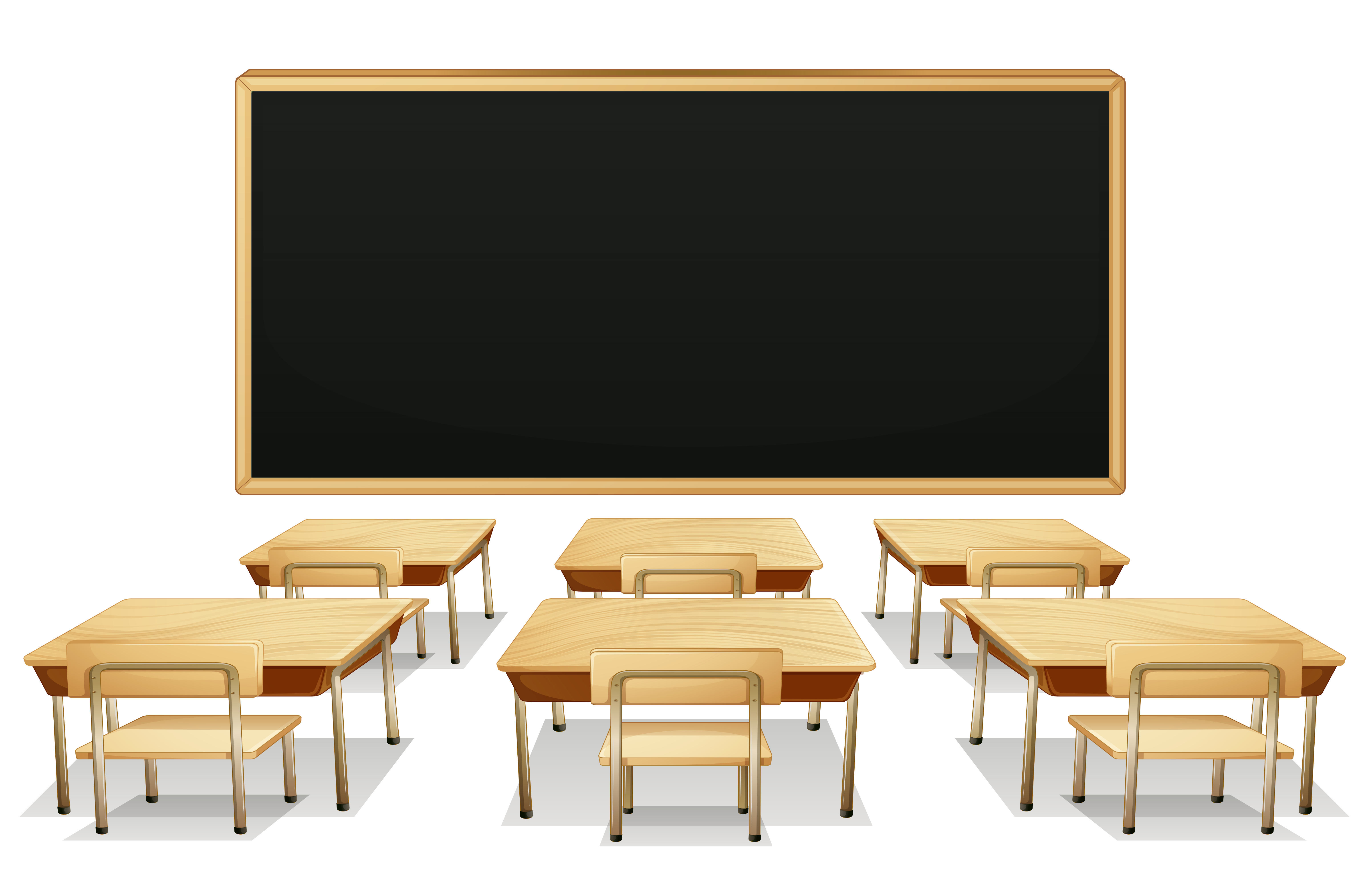 School with blackboard and. Desk clipart classroom