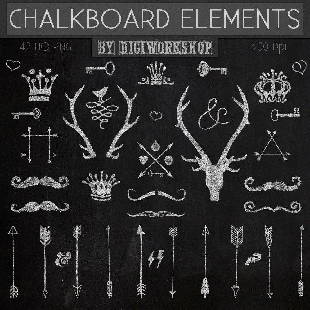 Chalkboard elements with crown. Blackboard clipart clip art