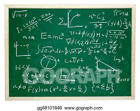 Stock illustration formulas on. Blackboard clipart college math