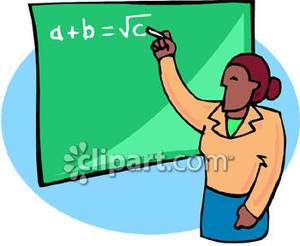 A teacher writing equation. Blackboard clipart college math