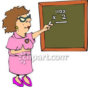 Cartoon of a female. Blackboard clipart college math
