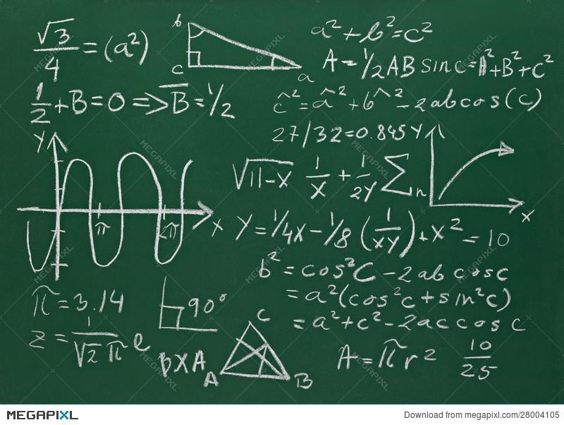 Formulas on school education. Blackboard clipart college math