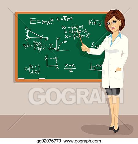 Blackboard clipart college math. Vector stock young attractive