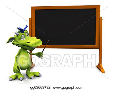 Blackboard clipart cute. Stock illustration cartoon monster