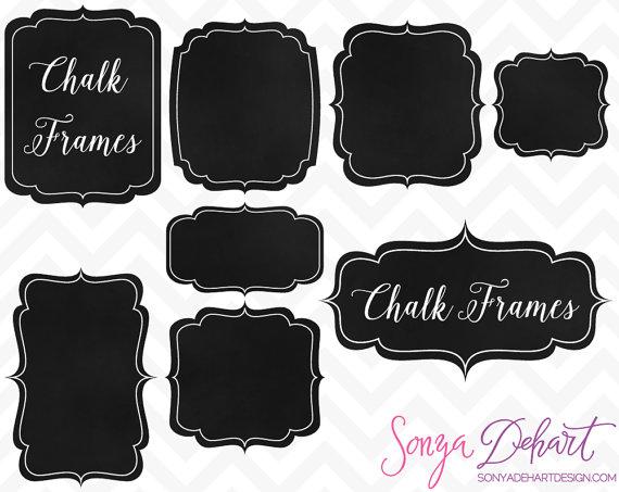Labels frames chalk clip. Chalkboard clipart frame
