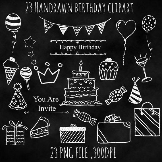 Happy birthday chalkboard card. Blackboard clipart message board