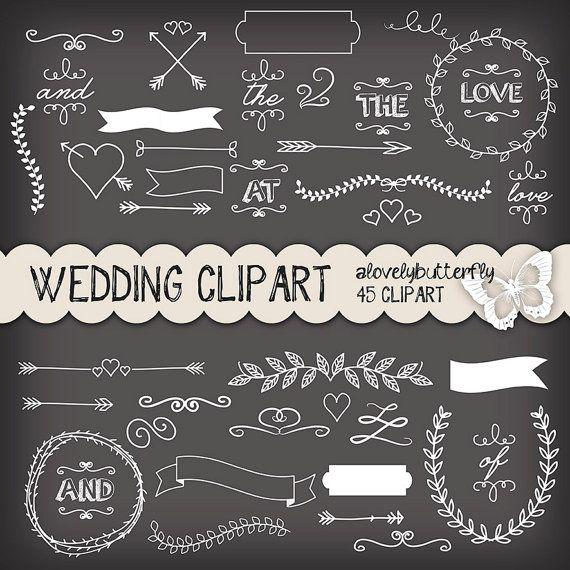 Chalkboard clipart chalkboard sign. Wedding laurel invitation vintage