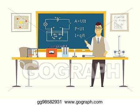 Blackboard clipart modern. Vector illustration physics classroom